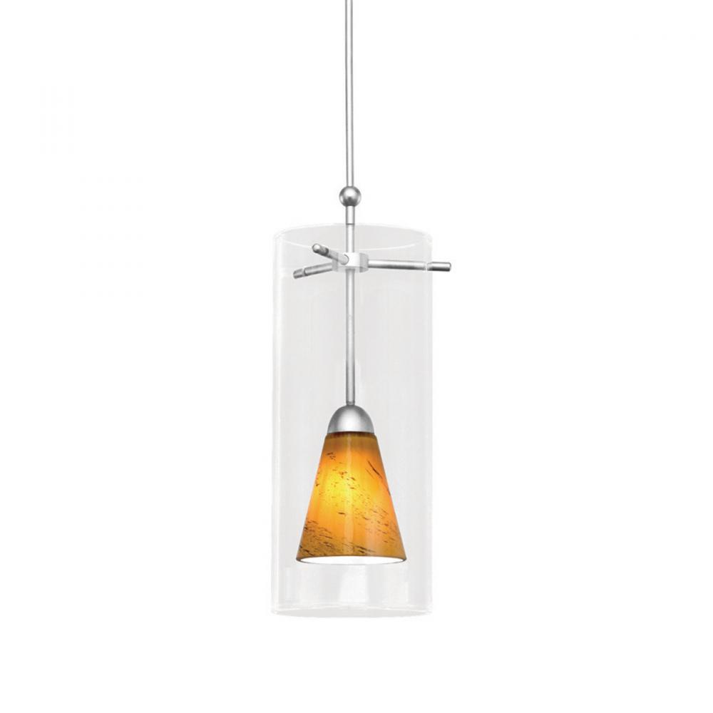 Konic Monopoint Pendant - Amber Shade with Brushed Nickel Socket Set, Canopy Included