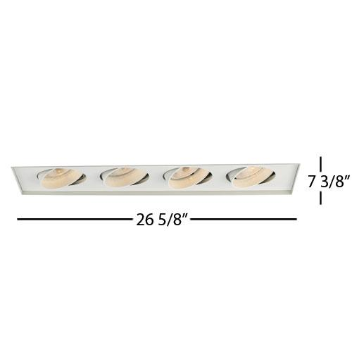 Four Light White Directional Recessed Light