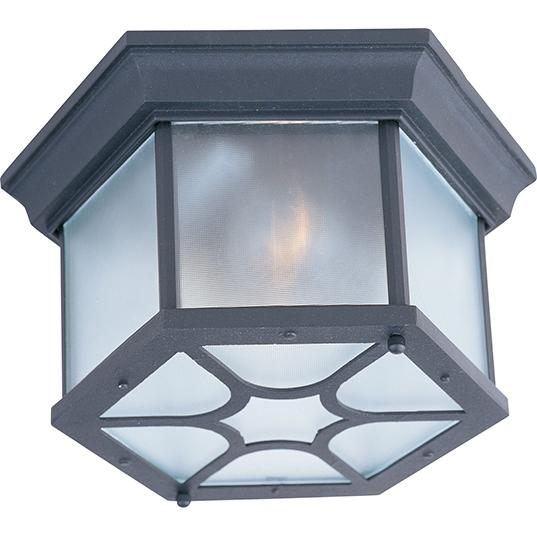 Two Light Black Clear Glass Outdoor Flush Mount
