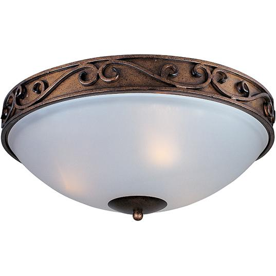 Three Light Frosted Glass Auburn Dusk Bowl Flush Mount