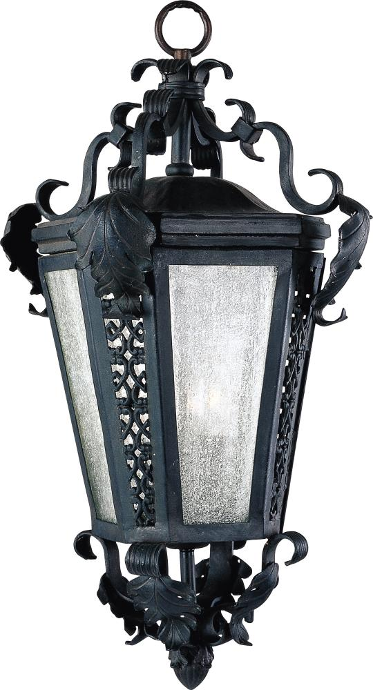 Three Light Country Forge Seedy Glass Outdoor Foyer Hall Fixture