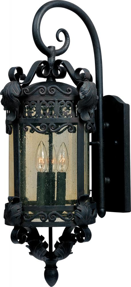 Three Light Country Forge Amber Seedy Glass Wall Lantern