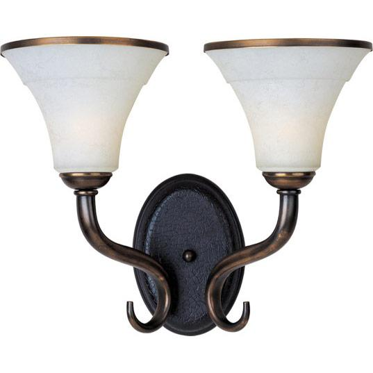 Two Light Newbury Brass Frost Lichen Glass Vanity