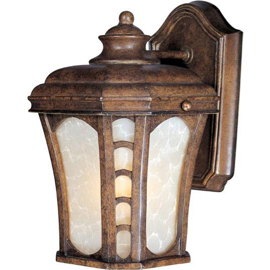 One Light Antique Pecan Latte Glass Wall Lantern