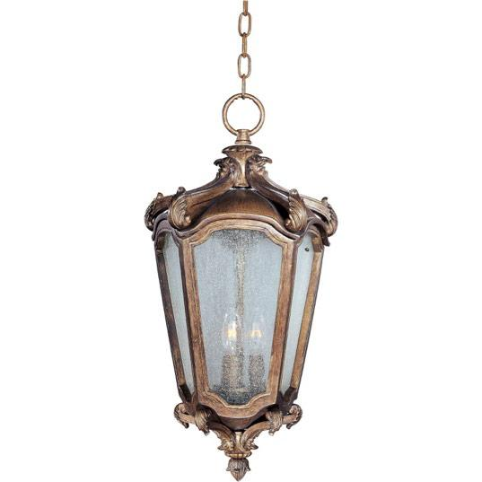 Three Light Night Shade Glass Hanging Lantern