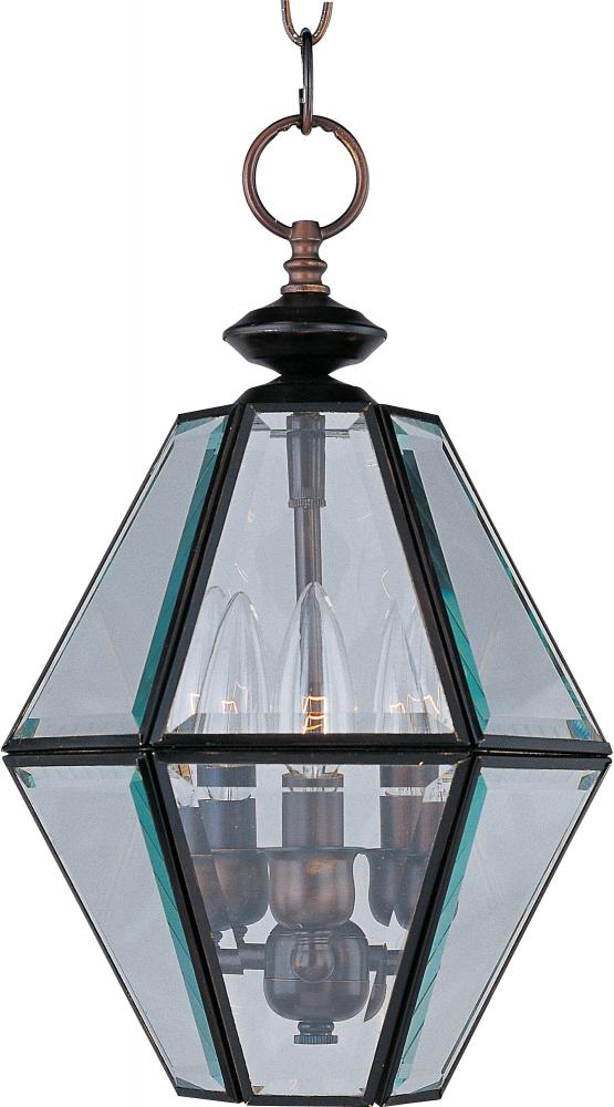 Three Light Oil Rubbed Bronze Clear Glass Framed Glass Foyer Hall Fixture