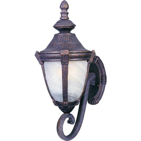 One Light Empire Bronze Marble Glass Wall Lantern