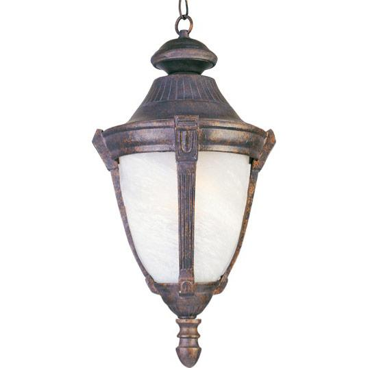 One Light Empire Bronze Marble Glass Hanging Lantern