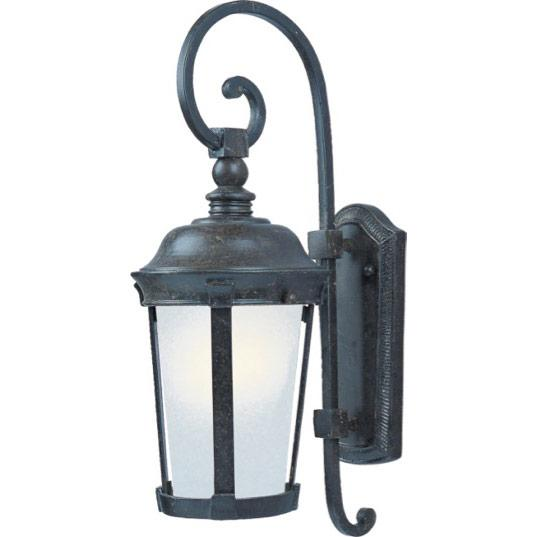 One Light Bronze Frosted Seedy Glass Wall Lantern