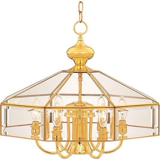 Seven Light Polished Brass Clear Glass Up Chandelier