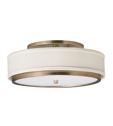 One Light Champagne Drum Shade Flush Mount