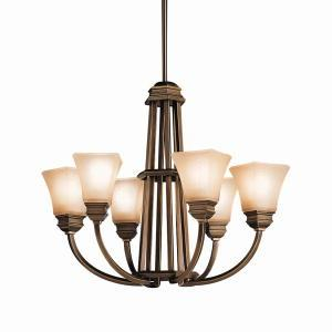 Six Light Oiled Bronze Up Chandelier