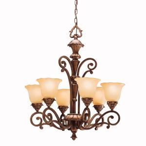 Six Light Parisian Bronze Up Chandelier