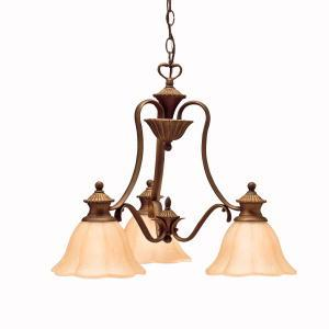 Three Light Parisian Bronze Down Chandelier
