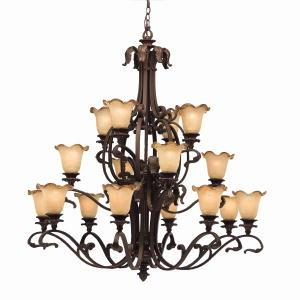 Sixteen Light Carre Bronze Up Chandelier