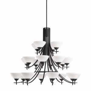 Twenty Light Distressed Black Up Chandelier