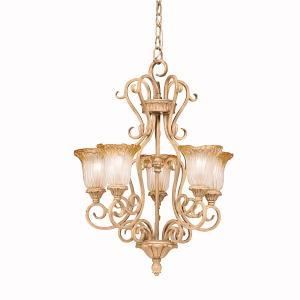 Five Light Golden Brulee Up Chandelier