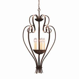 Five Light Tannery Bronze Up Chandelier