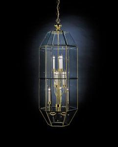 Nine Light Polished Brass Foyer Hall Pendant