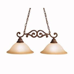 Two Light Tannery Bronze W/ Gold Accent Island Light