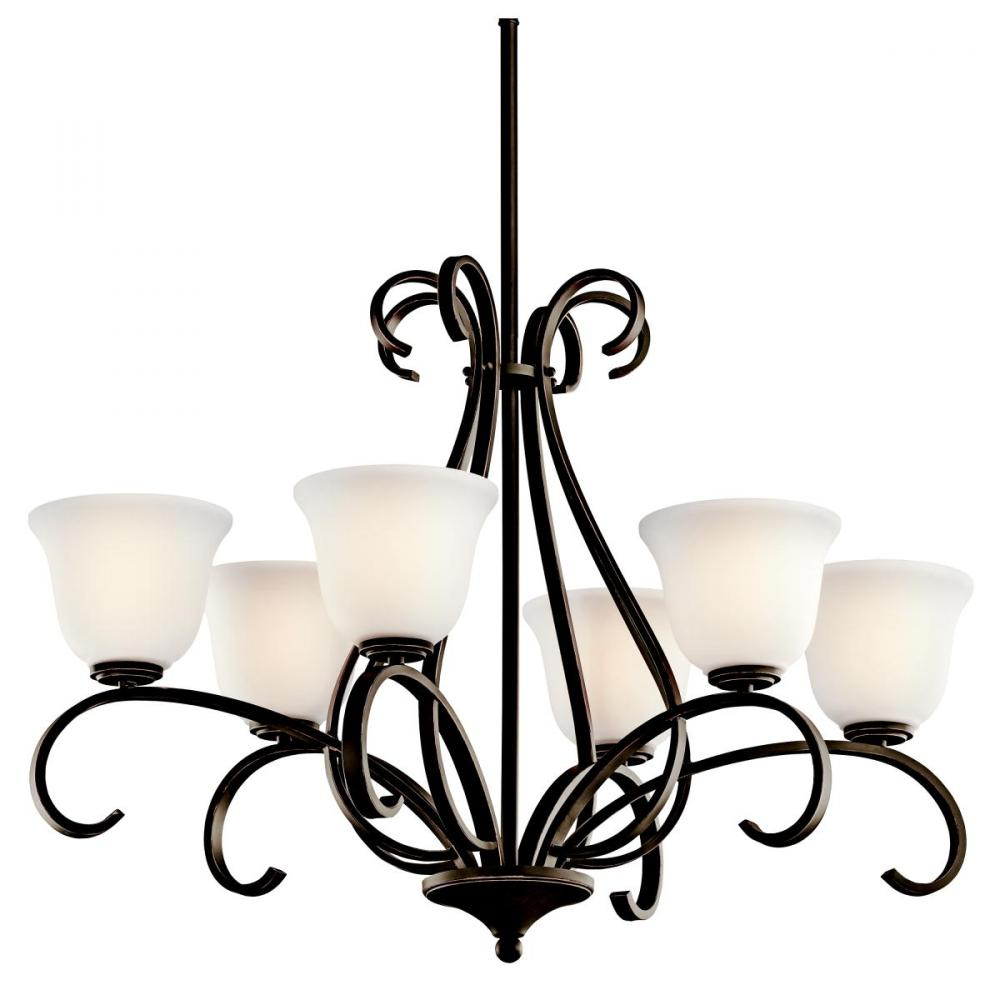Six Light Olde Bronze Up Chandelier