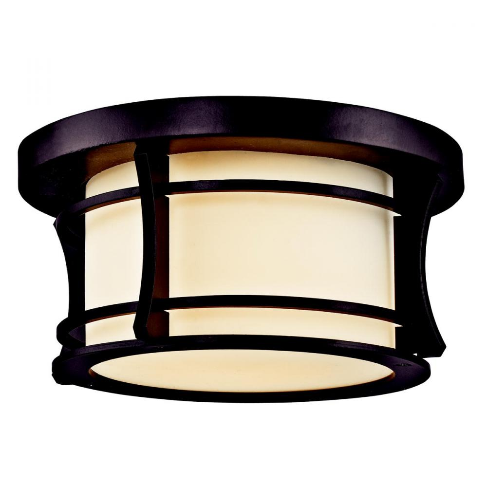 One Light Architectural Bronze Outdoor Flush Mount