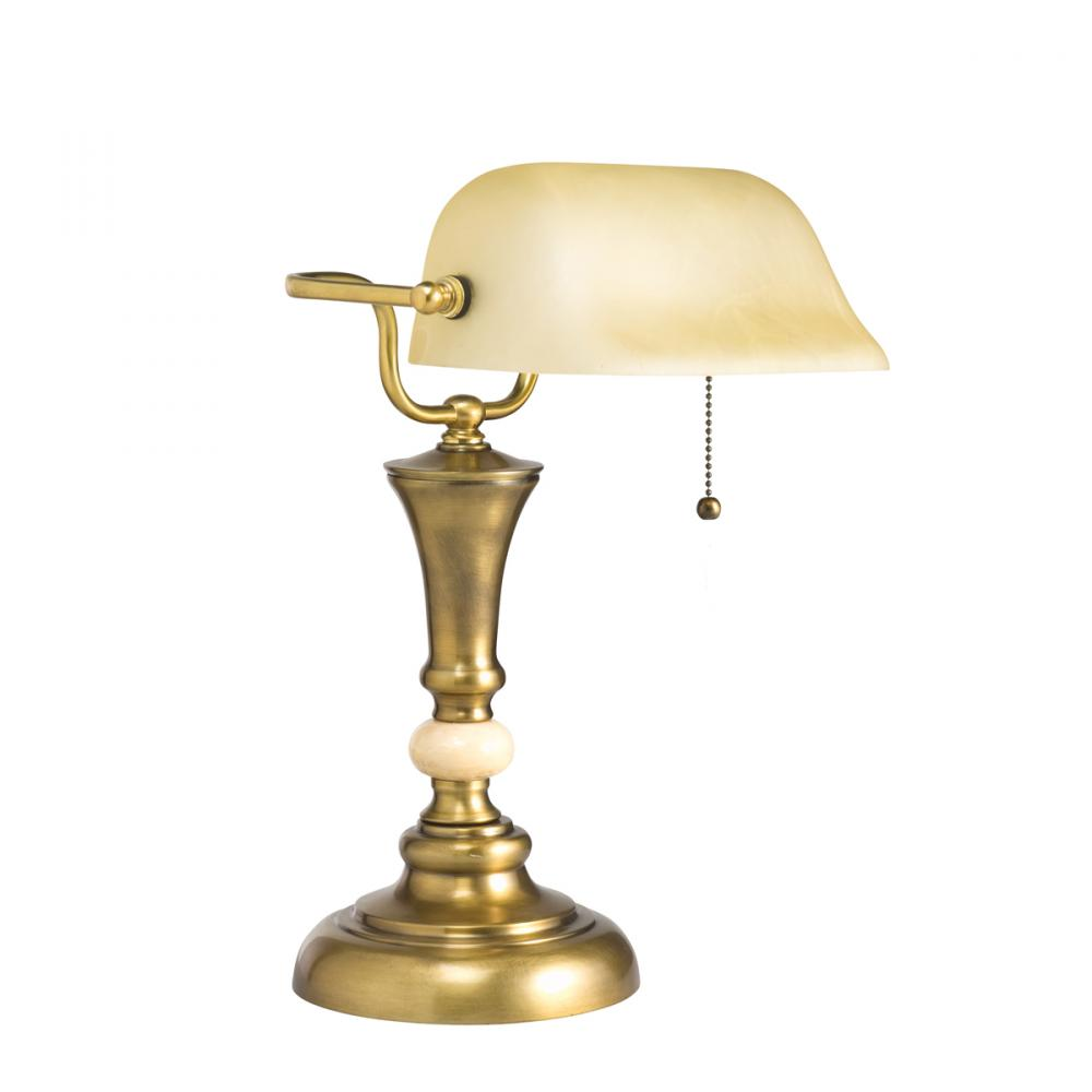One Light Antique Brass Desk Lamp