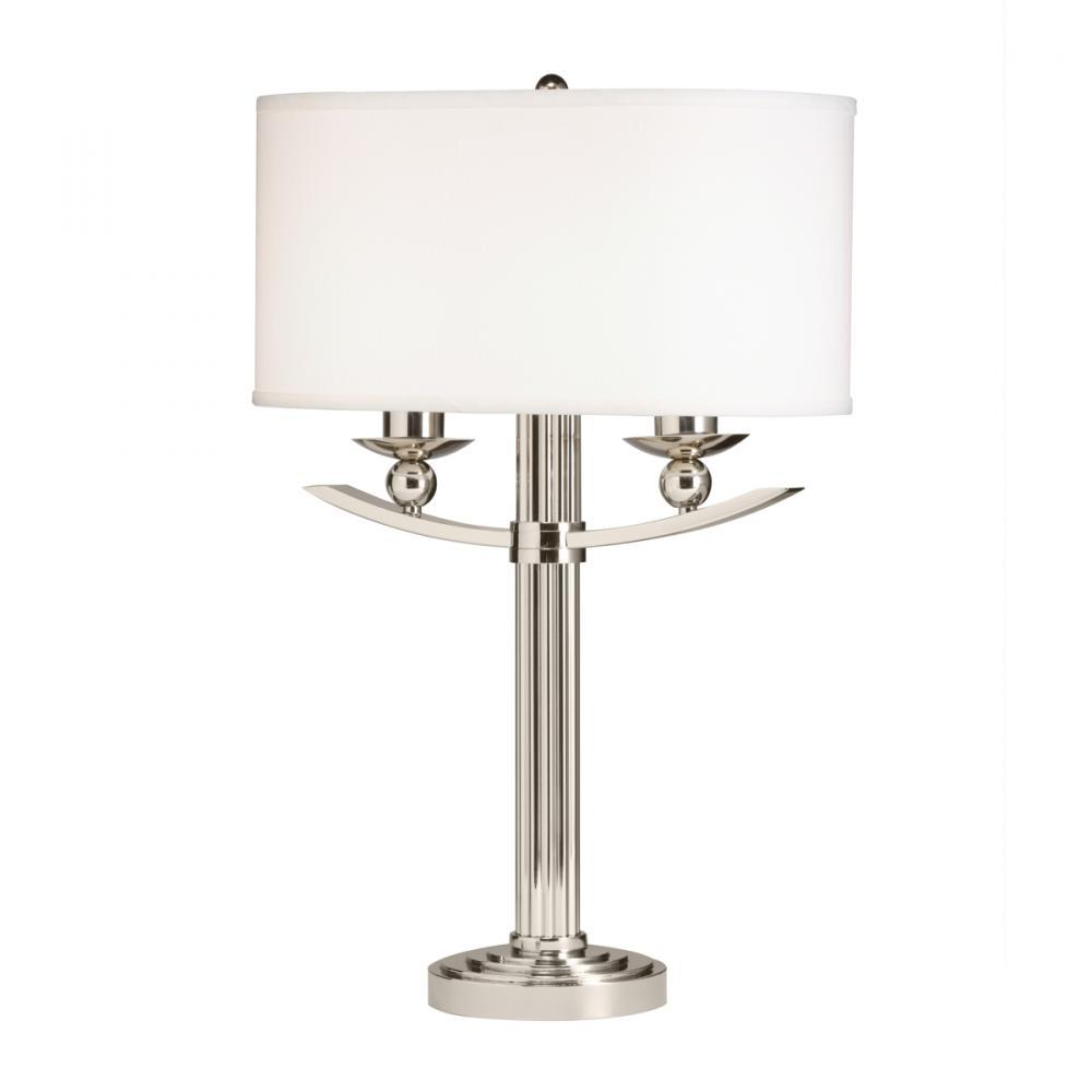 Two Light Polished Nickel Table Lamp