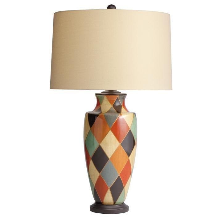 Two Light Hand Painted Porcelain Table Lamp