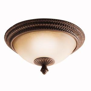 Two Light Tannery Bronze W/ Gold Accent Bowl Flush Mount