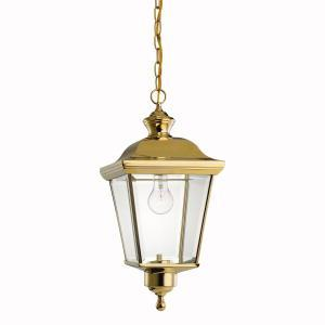 One Light Polished Brass Hanging Lantern