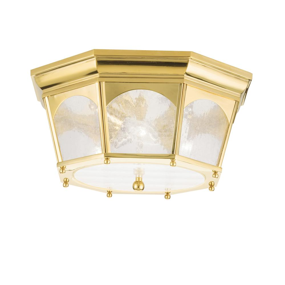 Three Light Polished Brass Outdoor Flush Mount