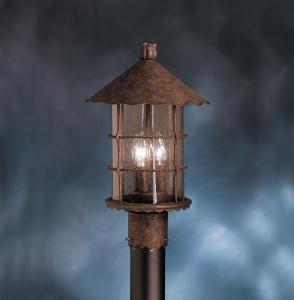 Three Light Distressed Copper Post Light