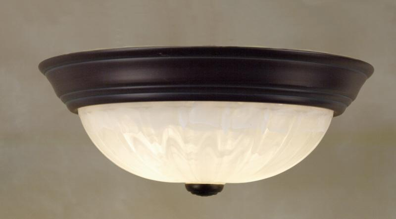 Three Light Faux Etched Alabaster Melon Glass Bowl Flush Mount