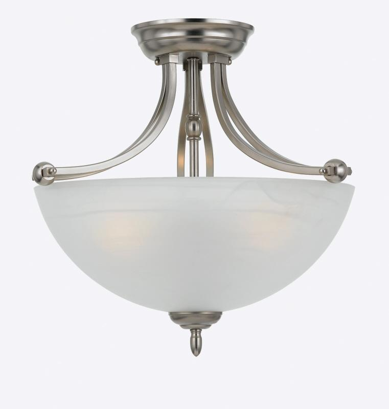 Three Light Faux Etched Alabaster Glass Bowl Semi-Flush Mount
