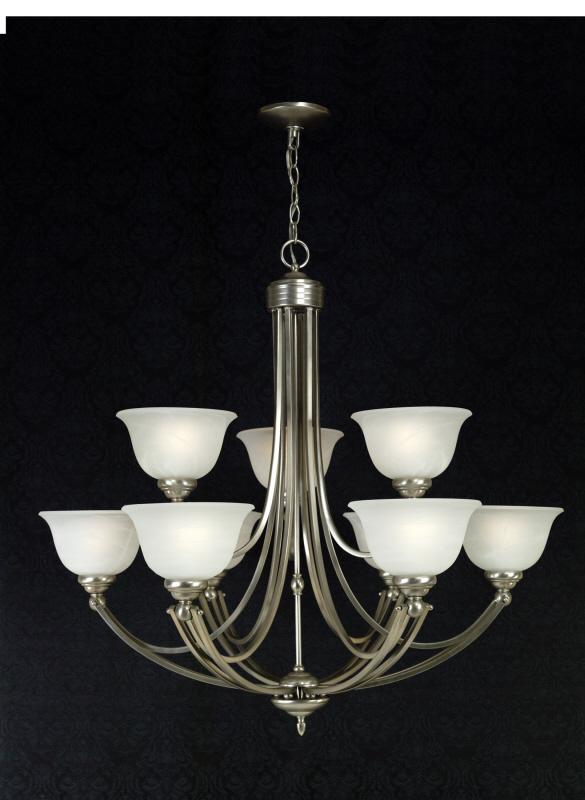 Nine Light Faux Etched Alabaster Glass Up Chandelier