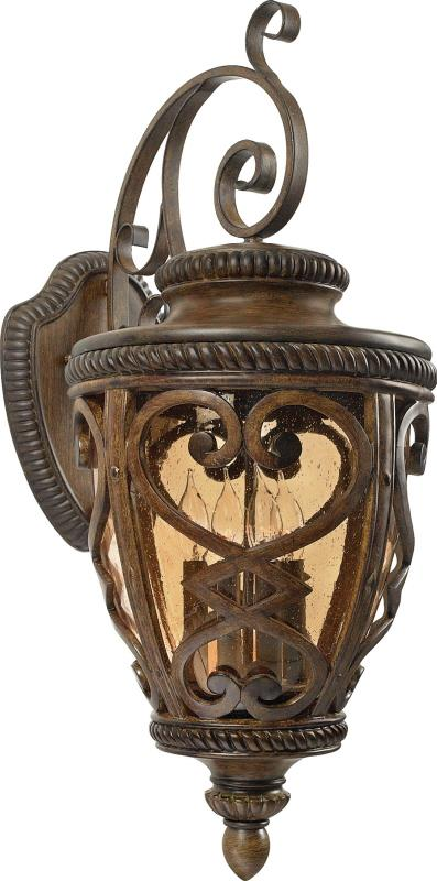 Four Light Antique Brown Amber Seedy Glass Wall Lantern