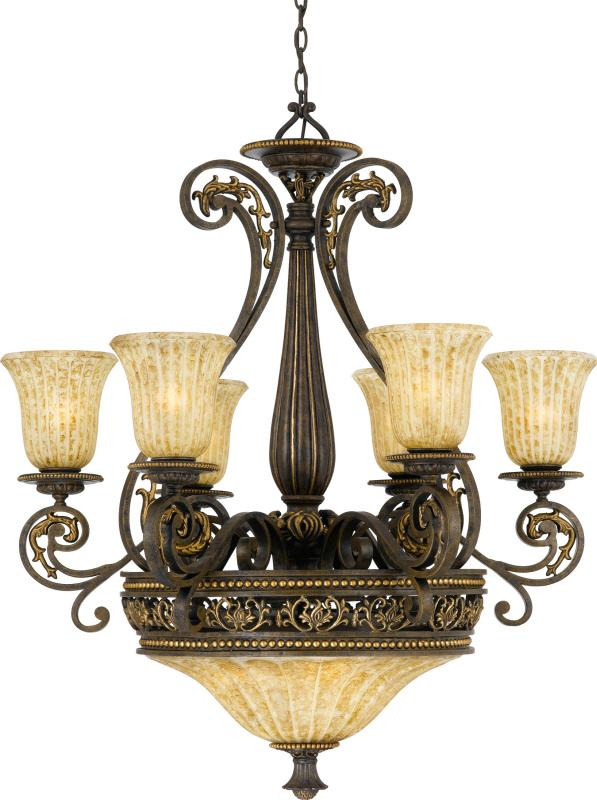 Nine Light Fluted Tortoise Shell Glass Up Chandelier