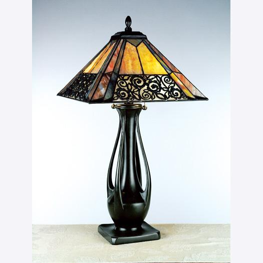Two Light Tiffany Glass Table Lamp