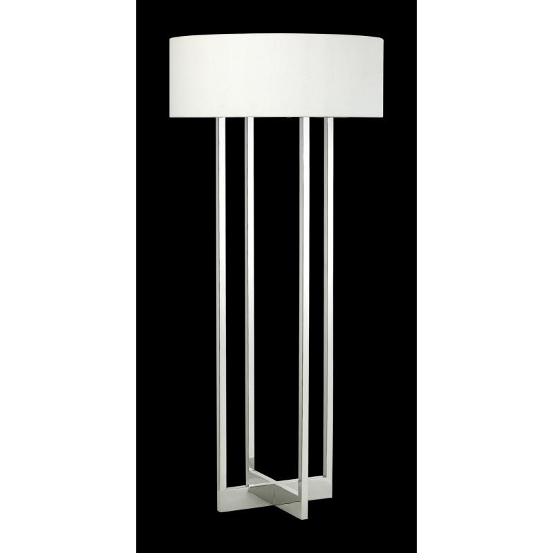 Four Light Polished Nickel White Linen Shade Floor Lamp