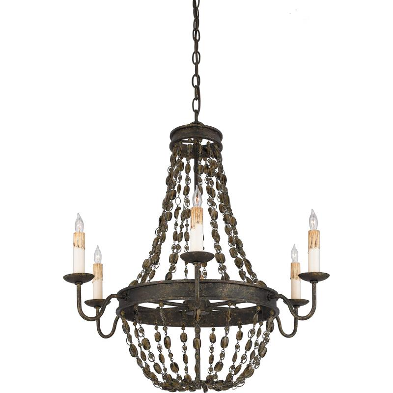 Six Light Gold Up Chandelier