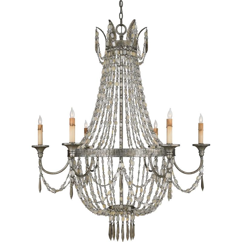 Six Light Nickel Up Chandelier