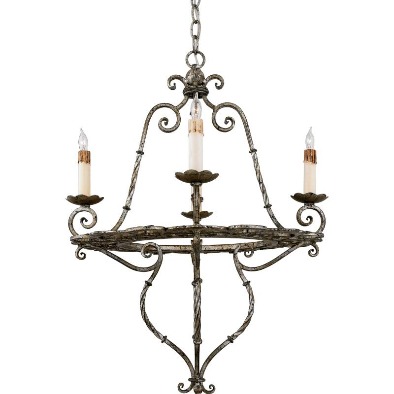 Four Light Silver Up Chandelier