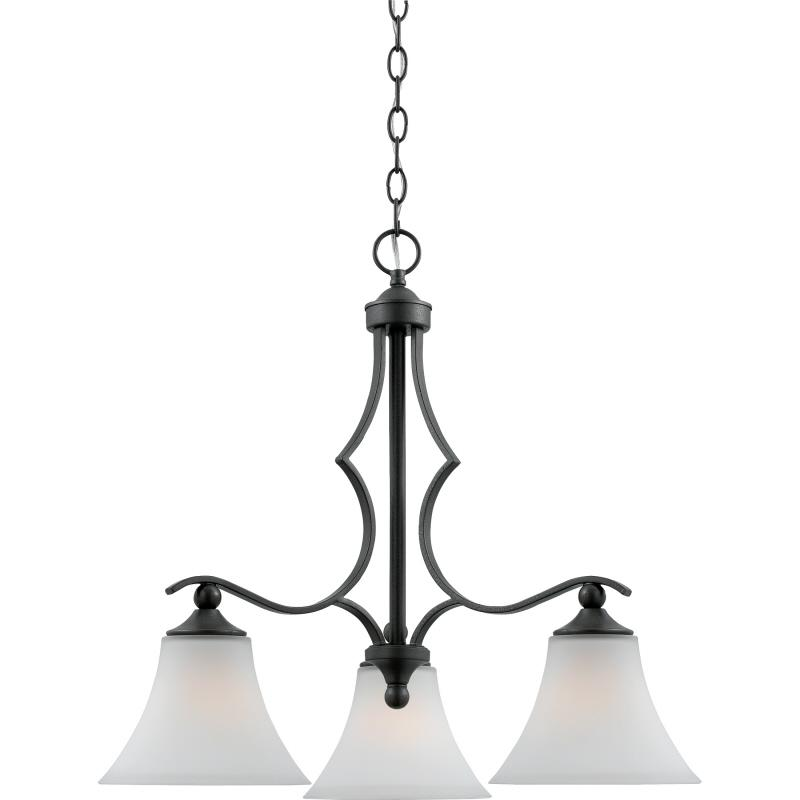 Granite City Electric in Plymouth, Massachusetts, United States, Quoizel SR5103IN, Three Light Iron Gate Etched Painted White Inside Glass Down Chandelier, Sarah