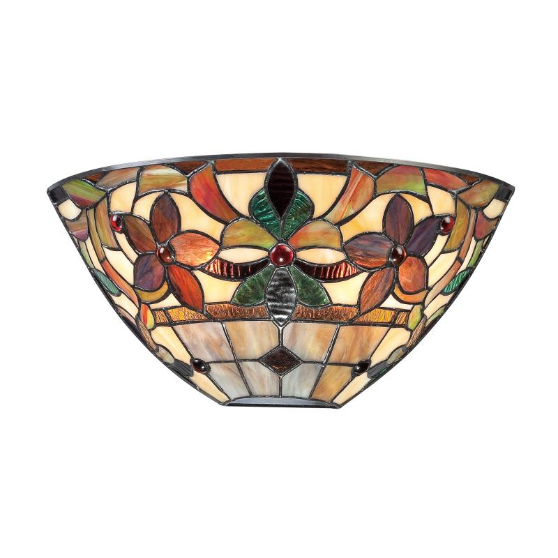Two Light Vintage Bronze Tiffany Glass Wall Light