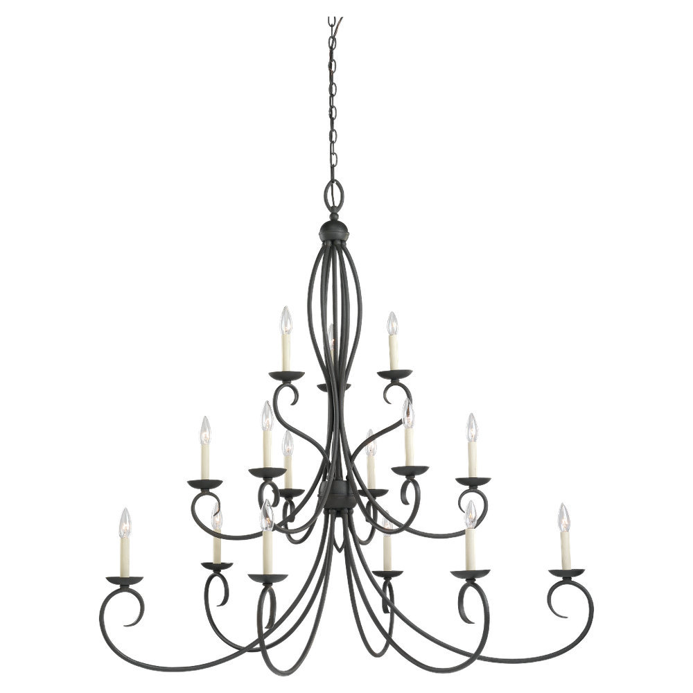 Fifteen Light Black Up Chandelier