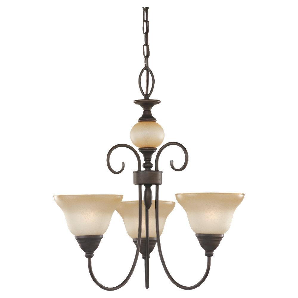 Three Light Bronze Up Chandelier
