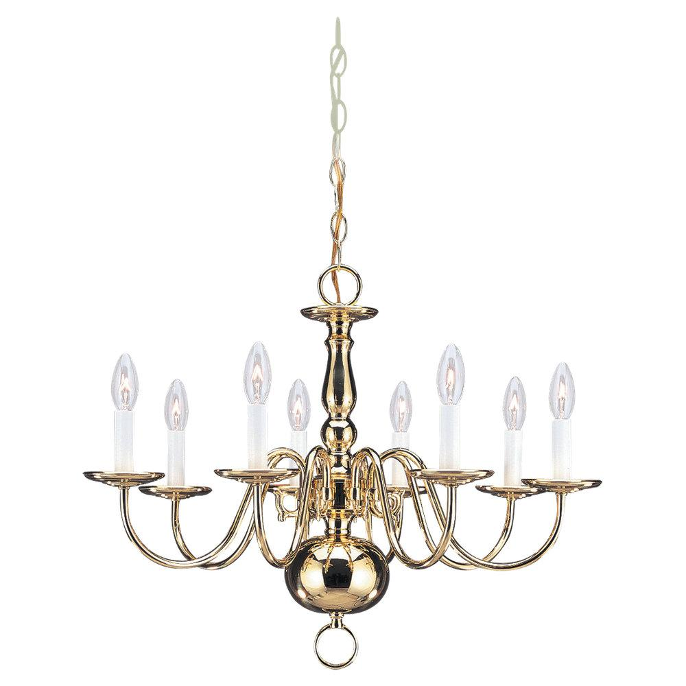 Eight Light Brass Up Chandelier