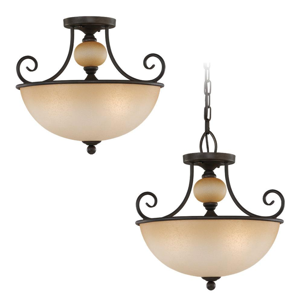 Three Light Bronze Bowl Semi-Flush Mount
