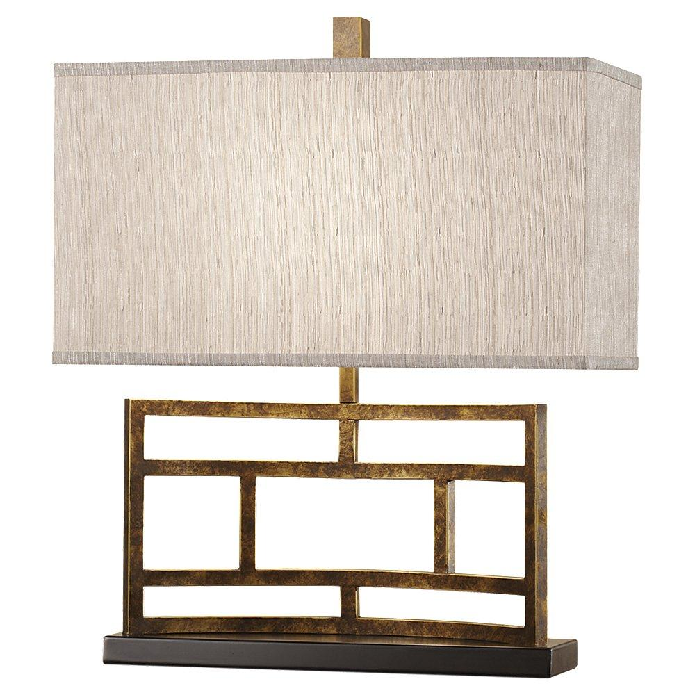 One Light Autumn Gold Faux Silk (gray)�silk Shade Table Lamp